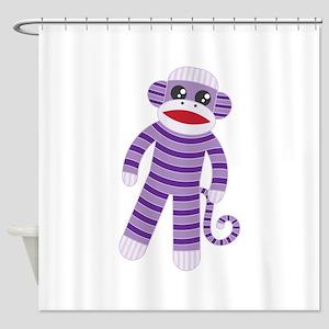 Purple Sock Monkey Shower Curtain