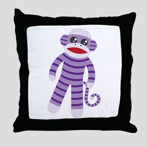Purple Sock Monkey Throw Pillow