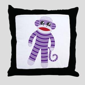Purple Sock Monkey Throw Pillow