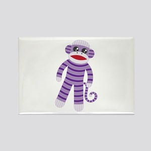 Purple Sock Monkey Rectangle Magnet