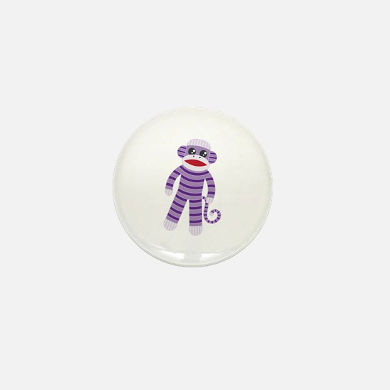 Purple Sock Monkey Mini Button