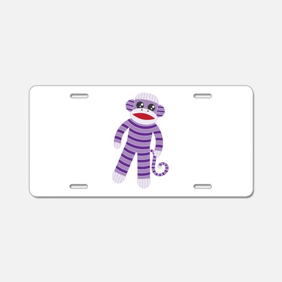 Purple Sock Monkey Aluminum License Plate