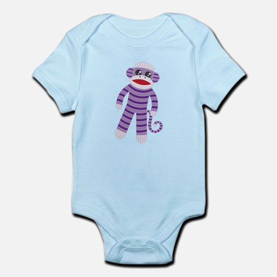 Purple Sock Monkey Infant Bodysuit