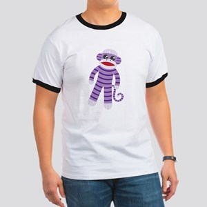 Purple Sock Monkey Ringer T