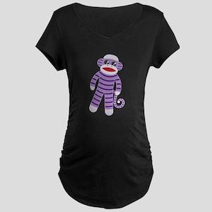 Purple Sock Monkey Maternity Dark T-Shirt