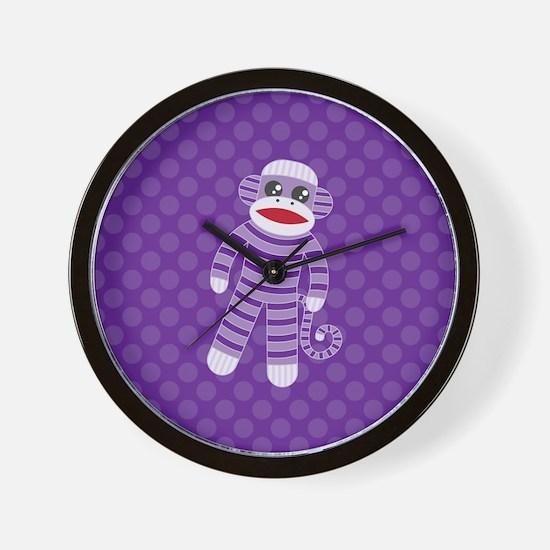 Purple Sock Monkey Wall Clock
