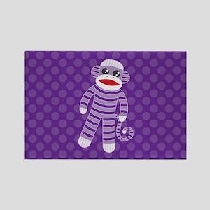 Purple Sock Monkey Rectangle Magnet
