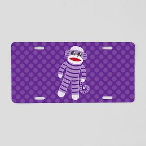 Purple Sock Monkey Aluminum License Plate