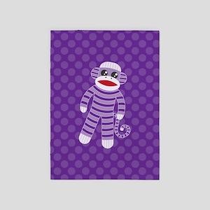 Purple Sock Monkey 5'x7'Area Rug