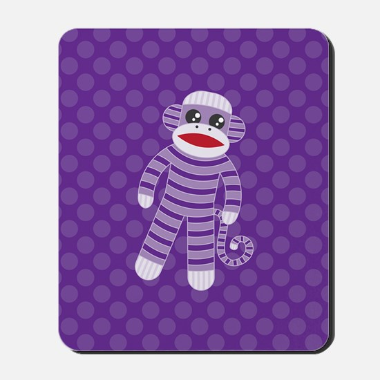 Purple Sock Monkey Mousepad