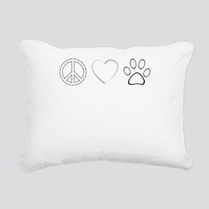 Peace Love Paws (Clear) Rectangular Canvas Pillow