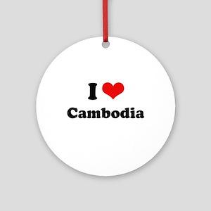 I love Cambodia Ornament (Round)