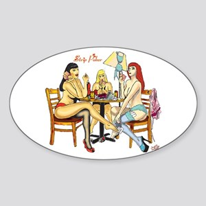 Strip Poker Oval Sticker