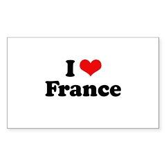 I love France Rectangle Sticker 50 pk)
