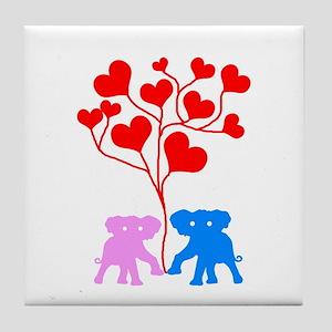 The three of love Tile Coaster