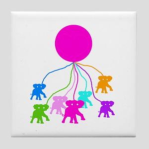 Elephants and pink balloon Tile Coaster