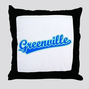 Retro Greenville (Blue) Throw Pillow
