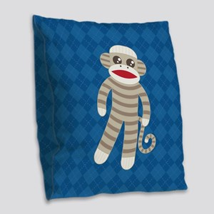 Sock Monkey Burlap Throw Pillow
