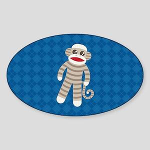 Sock Monkey Sticker (Oval)