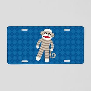 Sock Monkey Aluminum License Plate