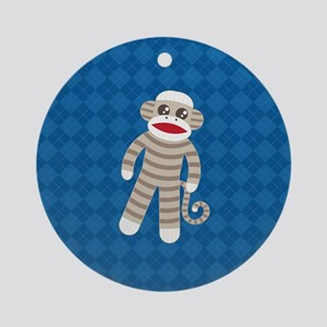 Sock Monkey Round Ornament