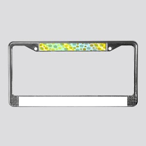 gold an silber leaf in blue ye License Plate Frame