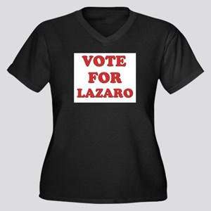 Vote for LAZARO Women's Plus Size V-Neck Dark T-Sh