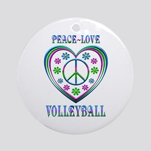 Peace Love Volleyball Round Ornament