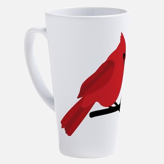 Cute Red cardinal bird 17 oz Latte Mug