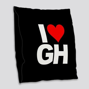 General Hospital I Heart GH Burlap Throw Pillow