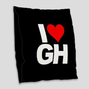 General Hospital I Heart GH Burlap Throw Pillow