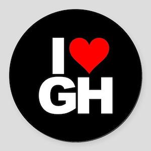 General Hospital I Heart GH Round Car Magnet