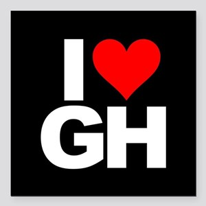 "General Hospital I Heart Square Car Magnet 3"" x 3"""