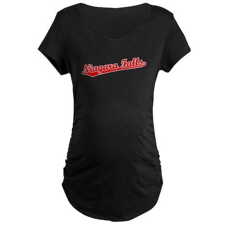 Retro Niagara Falls (Red) Maternity Dark T-Shirt