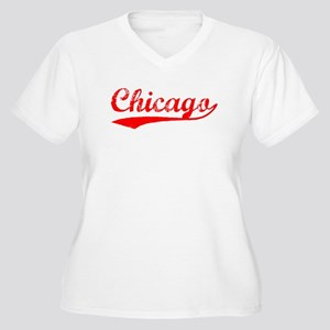 Vintage Chicago (Red) Women's Plus Size V-Neck T-S