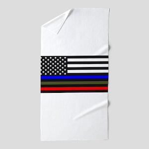 Thin Blue Line Decal - USA Flag Red, B Beach Towel