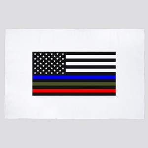 Thin Blue Line Decal - USA Flag Red, B 4' x 6' Rug