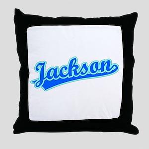 Retro Jackson (Blue) Throw Pillow