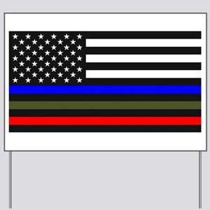 Thin Blue Line - USA Flag Red, Blue and Yard Sign