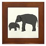 Mom and baby elephants Framed Tile