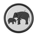 Mom and baby elephants Large Wall Clock
