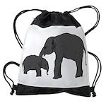 Mom and baby elephants Drawstring Bag