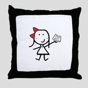 Girl & Book Throw Pillow