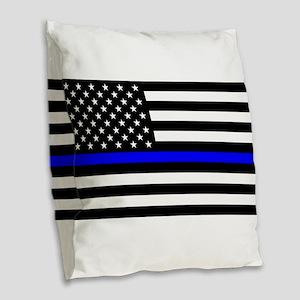 Thin Blue Line - USA United St Burlap Throw Pillow