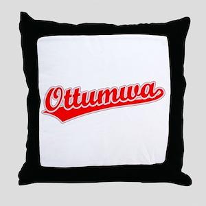 Retro Ottumwa (Red) Throw Pillow