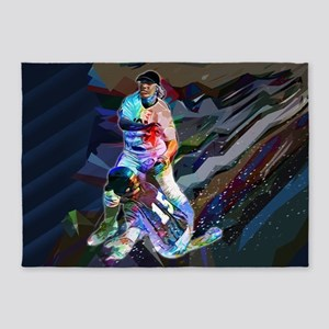 Crayon Colored Abstract Action Slid 5'x7'Area Rug