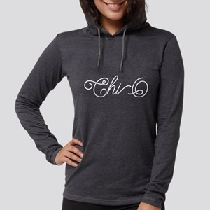 Chi Omega Curl Womens Hooded Shirt