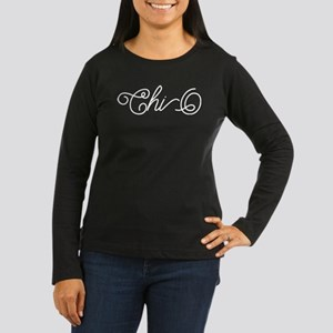 Chi Omega Curl Women's Long Sleeve Dark T-Shirt