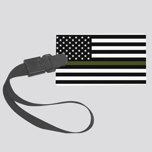 Thin Blue Line Decal - USA Flag Large Luggage Tag