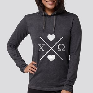 Chi Omega Cross Womens Hooded Shirt